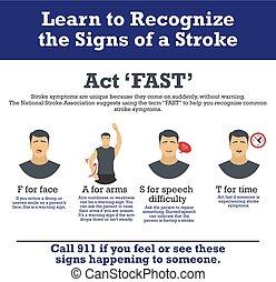 ストローク, infographic, elements., symptoms.