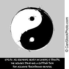 ストローク, yin, -, yang, 芸術的, ブラシ