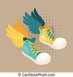 スニーカー, デザイン, 情報通, style., 翼
