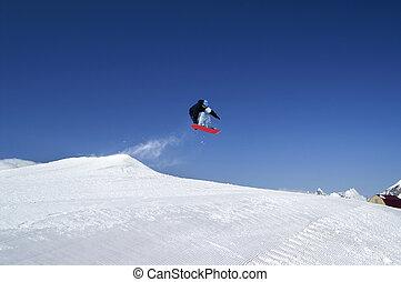 スノーボーダー, ジャンプしなさい, 地勢, 公園, ∥において∥, スキーリゾート, 上に, 日当たりが良い, 冬, 日