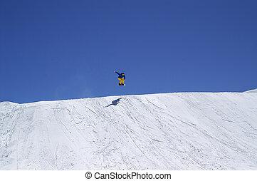 スノーボーダー, 跳躍, 地勢, 公園, 上に, 太陽, 冬, 日