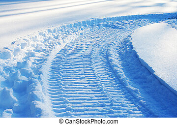スノーモービル, トラック, 上に, 雪