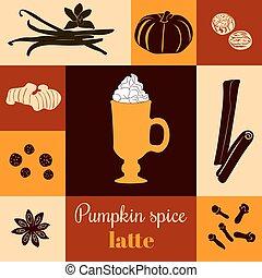 スパイス, カボチャ, カラードの背景, latte
