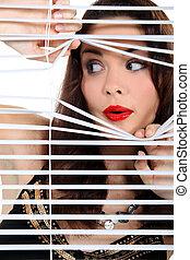 スパイ行為, 女, によって, blinds.