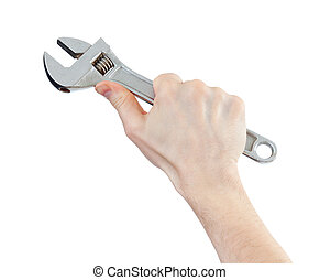 スパナー, ∥あるいは∥, レンチ, 道具, 中に, 手, 隔離された, 白