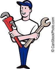 スパナー, レンチ, handyman, 漫画, サル