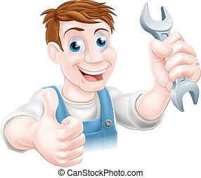 スパナー, 親指, 機械工, の上