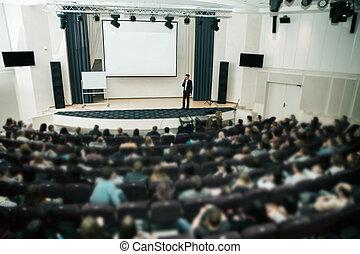 スピーカー, ∥において∥, ビジネスの会議, そして, presentation., 聴衆, ∥, 会議, hall.