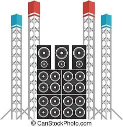 スピーカー, コンサート, 祝祭, ライト, プラス, 用具一式