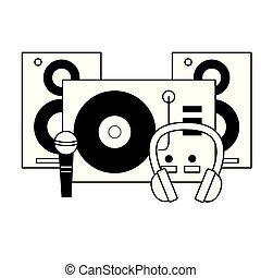 スピーカー, ヘッドホン, マイクロフォン, レコード, ターンテーブル, 音楽, ビニール