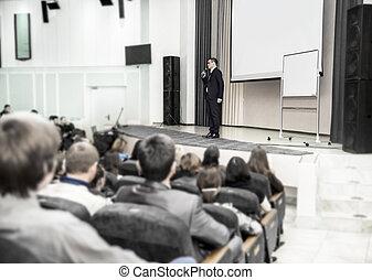 スピーカー, 話す, ∥において∥, a, ビジネスの会議, の前, 企業家, そして, ジャーナリスト