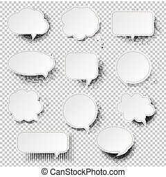 スピーチ泡, レトロ, 背景, 透明