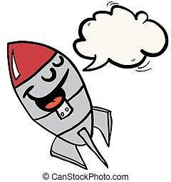 スピーチ泡, ロケット, 幸せ