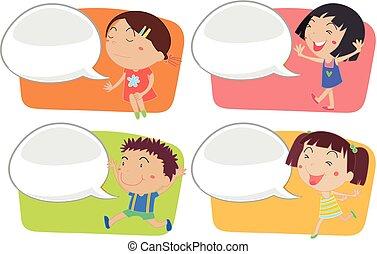 スピーチ泡, 子供, テンプレート, 幸せ