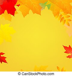 スピーチ泡, 白, 色, 秋, 背景, ポスター, 葉