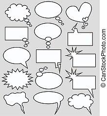 スピーチ, そして, 考え, 泡