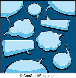 スピーチ, そして, 考え, 泡, (vector)