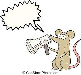 スピーチ, マウス, メガホン, 泡, 漫画