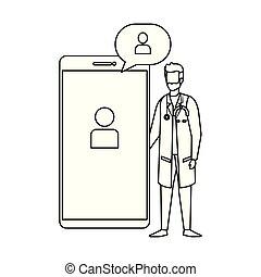 スピーチ, 専門家, smartphone, 泡, 医者