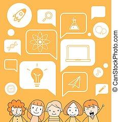 スピーチ, 教育, 泡, アイコン, 子供