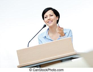 スピーチ, 板, 女性, メーカー