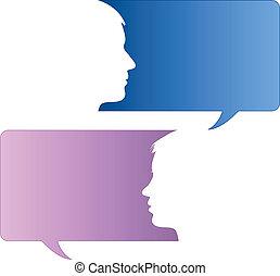 スピーチ, 泡, ∥で∥, 男性の、そして女性の, 顔