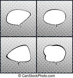 スピーチ, 白, セット, 黒, 泡