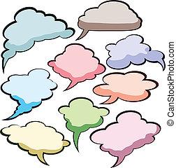スピーチ, 色, clouds.