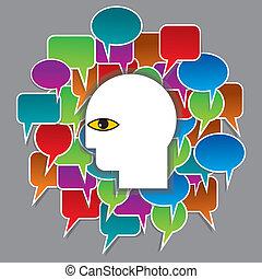 スピーチ, 頭, 泡, 人間