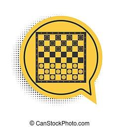 スピーチ, chips., 知的, バックグラウンド。, 黒, game., ベクトル, 泡, board., 板, 古代, ゲーム, アイコン, シンボル。, 黄色, 白, チェッカー, 隔離された, チェス