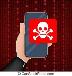 スピーチ, crossbones, ベクトル, 脅威, モビール, malware, smartphone, screen., 泡, illustration., attack., 株, スパムしなさい, messages., 頭骨