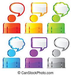 スピーチ, icons.