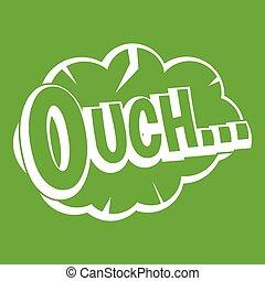 スピーチ, ouch, 緑, 雲, アイコン