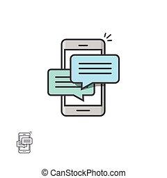 スピーチ, smartphone, sms, 談笑する, notifications, 移動式 電話, ベクトル, チャット, アイコン, メッセージ, 泡