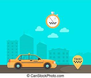 スピード, タクシー, 交通機関, サービス