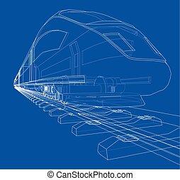 スピード, 列車, ベクトル, 現代, concept.