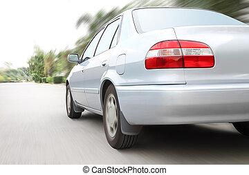 スピード, 車を運転すること, 上に, 動き, road.