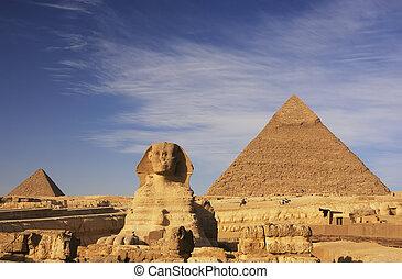 スフィンクス, そして, khafre のピラミッド, カイロ, エジプト