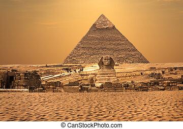 スフィンクス, エジプト, ギザピラミッド, 砂漠, 光景