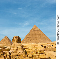 スフィンクス, エジプト, ギザ, 表面仕上げ, ピラミッド, 前部, khafre