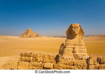 スフィンクス, カイロ, 背景, ピラミッド, 前部, 砂漠