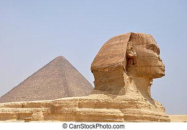 スフィンクス, ピラミッド, ギザ