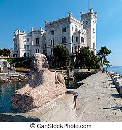 スフィンクス, -, italia, 像, 城, miramare