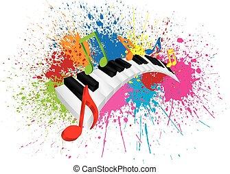 スプラッター, 抽象的, イラスト, ペンキ, 波状, キーボード, ピアノ