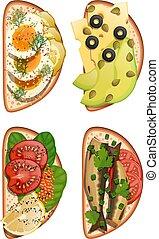 スプラット, キャビア, セット, 健全である, アボカド, bread., products:, 食物, レモン, 健康, dill., イラスト, きゅうり, ベクトル, 様々, 卵, ほうれんそう, 白, トースト, サンドイッチ