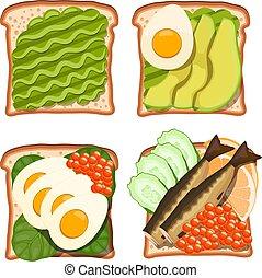 スプラット, bread., きゅうり, 様々, 健全である, lemon., サンドイッチ, 健康, ベクトル, キャビア, セット, アボカド, ほうれんそう, トースト, 食物, イラスト, products:, 白卵