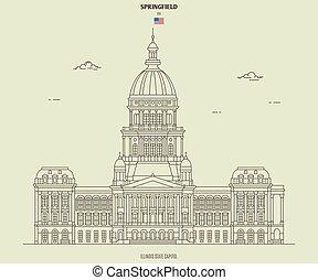スプリングフィールド, 国会議事堂, ランドマーク, イリノイ, 州, アイコン, usa.