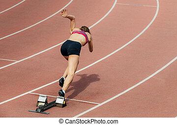 スプリンター, 女の子, 400, メートル, 始めなさい