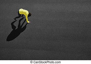 スプリンター, -, 黄色, 動くこと, よくわからない, スプリント, 始める, 人
