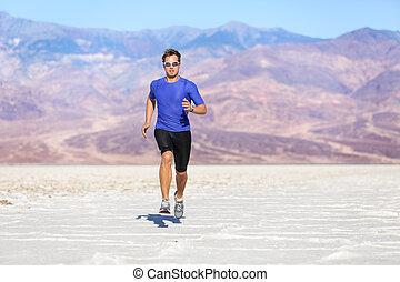 スプリント, ランナー, 運動選手, -, 動くこと, 砂漠, 人